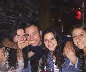 Smoking gun? Fallon was seen the evening before his severe finger injury dining at an UES restaurant sipping wine and posing for photos with fans (pictured)